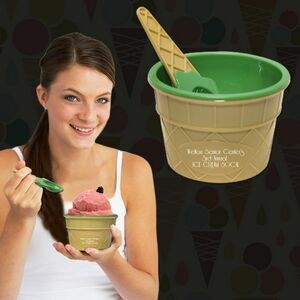 Green Ice Cream Cup & Spoon Set