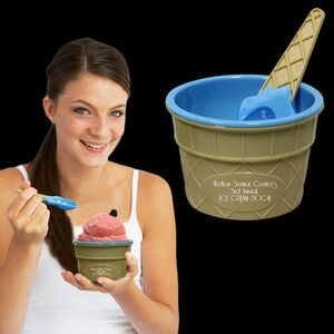 Blue Ice Cream Bowl and Spoon Set