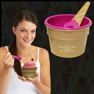 Pink Ice Cream Bowl and Spoon Set