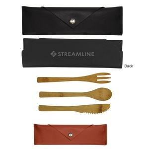 3 Piece Bamboo Utensil Set In Leatherette Pouch